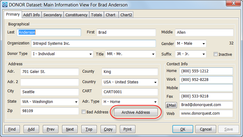 Archive Address Button on Main Info window