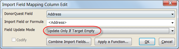 Import Field Mapping Update Mode