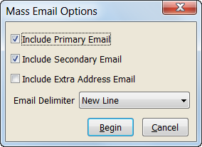 Mass Email Options